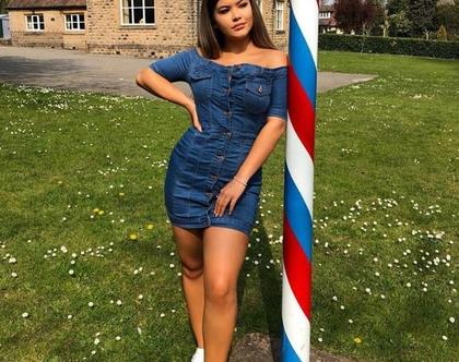 שמלה ג'ינס מיני עם כפתורים