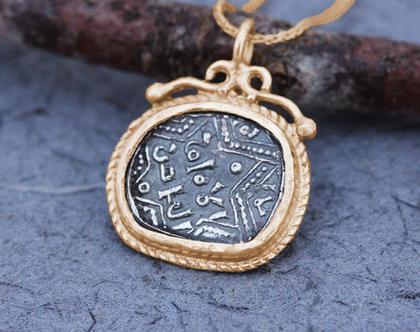שרשרת מטבע זהב אדום,תליון מטבע עתיק, שרשרת מגן דוד זהב, תליון מגן דוד לאישה, שרשרת מטבע זהב אדום, תליון זהב מיוחד, מגן דוד מעוצב, תליון 14K