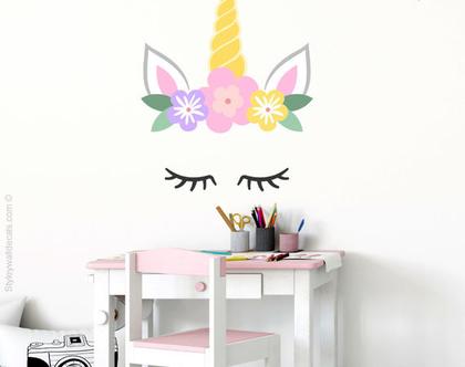 מדבקת קיר חד קרן | מדבקות קיר פוני | מדבקות קיר עם פרחים | מדבקות קיר חדרי בנות