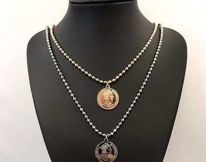 שרשרת מטבע עתיק - שרשרת יוניסקס - שרשרת מטבע ציפוי זהב כסף - SALE