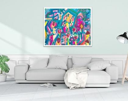 אמנות מקורית לבית, ציור אמנותי לעיצוב בית, תמונה לבית, גודל 90/90 יצירה חדשה של האמנית ענבר רייך, אמנות ישראלית, הדפס משודרג !