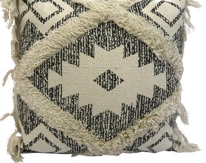 כרית כותנה מונטנגרו - כרית עבודת יד | כרית כותנה גיאומטרית | שטיח כרית שחור לבן לעיצוב הבית | כרית 100% כותנה
