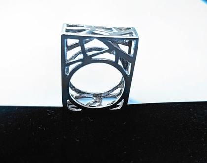 טבעת כסף 925. צורות גאומטריות