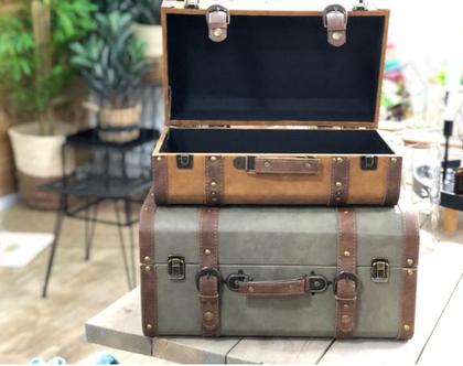 חסר - מזוודה חאקי ירוקה בסגנון סיקסטיז לאחסון ולנוי, דמויי עור - פריט ייחודי לעיצוב