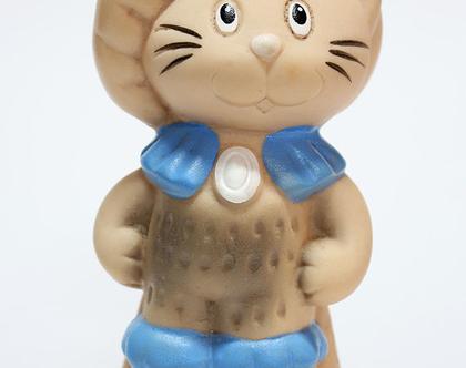 בובת גומי קטנה ונדירה של החתול במגפיים, בובת גומי לאספנים