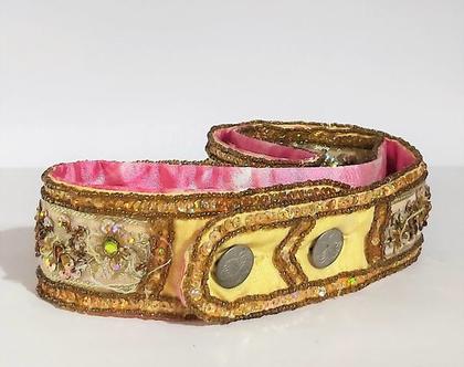 חגורה מידה =M= מבד שזורה בחוטי זהב משובצת בקריסטלים של סברובסקי נדירה עבודת יד משדרגת כל בגד
