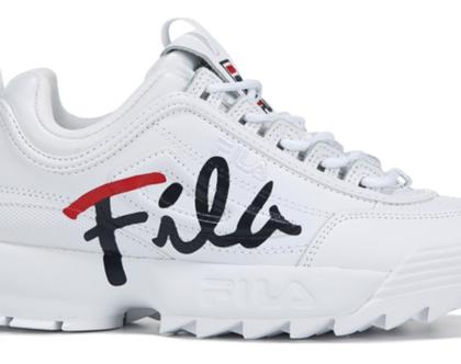 נעלי פילה לילדים בצבע לבן לוגו משולב Disruptor II in white