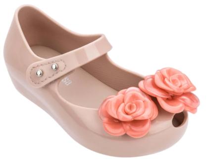 נעלי מיני מליסה פרחים בצבע גוף Mini Melissa Ultragirl Flower