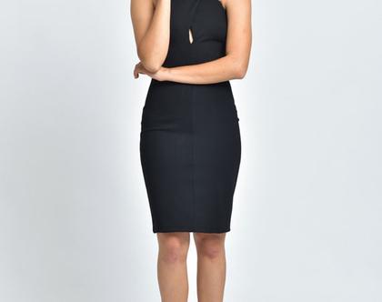 שמלה שחורה, שמלת ערב שחורה, גזרה צמודה, שמלת X - נטלי