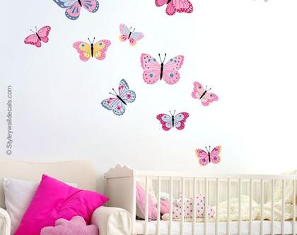 מדבקות קיר פרפרים | מדבקות קיר לחדרי בנות | מדבקות קיר לעיצוב החדר ילדים | מדבקות קיר פרפר | מדבקות קיר לחדרי תינוקות