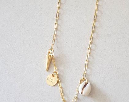 שרשרת זהב מרובת תליונים, תליון מטבע במרכז, תליון צדף