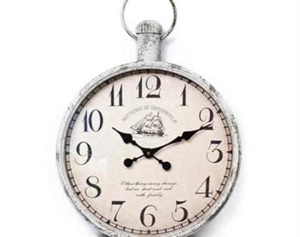 שעון קיר גדול בסגנון וינטג צבע אפור 48 סמ קוטר