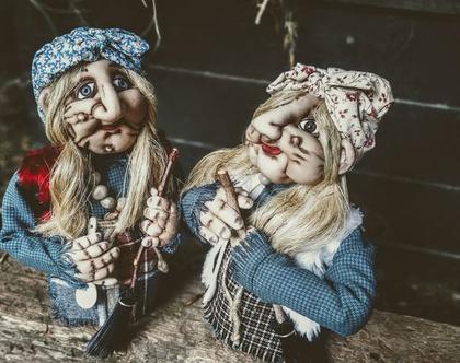 סט שתי בובות גדולות/ באבא יאגה/ בובת גרב מכשפה/ בובה מכשפה זקנה