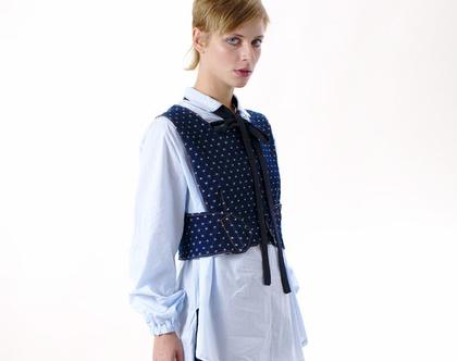 ויסט ג'ינס כחול נקודות, X בגב, ווסט מיוחד