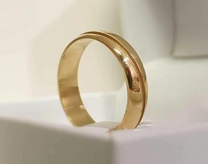 טבעת זהב עם חריטה אישית | טבעת זהב | טבעת א-סימטרית