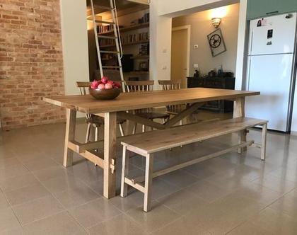 ספסל/שולחן זויתינה פלוס מעץ אלון | ספסל לפינת אוכל | ספסל לאמבטיה | ספסל לחדר שינה | ספסל פסנתר
