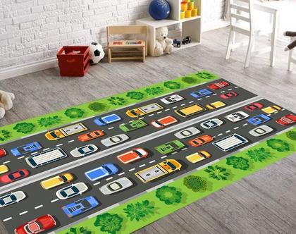 שטיח ויניל דגם מכוניות | שטיח pvc רך | שטיח לחדרי ילדים ענק 1.2X1 מטר