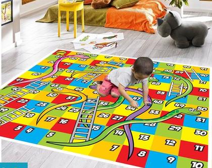 שטיח ויניל דגם סולמות | שטיח pvc רך | שטיח לחדרי ילדים ענק 1.2X1 מטר