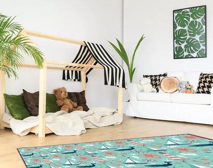 שטיח ויניל דגם לויתים | שטיח pvc רך | שטיח לחדרי ילדים ענק 1.2X1 מטר