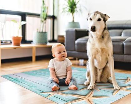 שטיח ויניל דגם צדפים | שטיח pvc רך | שטיח לחדרי ילדים ענק 1.2X1 מטר