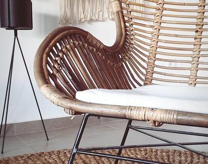 כורסת ראטן שאבי שיק ANN עם כרית   כורסא מקש