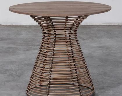 שולחן צד   שולחן קפה קטן   שולחן ראטן ועץ Ann #2