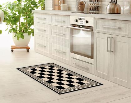 שטיח לינולאום מעוצב Black Chess | שטיח פי.וי.סי PVC | שטיח לבית | שטיח למטבח | שטיח לחדר