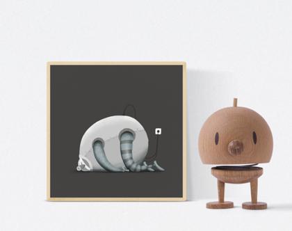 פוסטר מאויר - לעיצוב הבית - 'רובוט ישן' - כהה