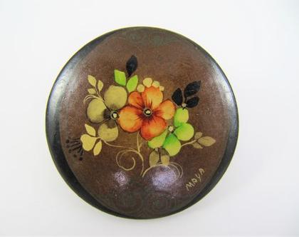 סיכת עץ מצויירת ביד ♥ סיכה פרחונית