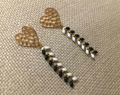 עגילים נופלים שחור לבן - עגיל לב צמוד