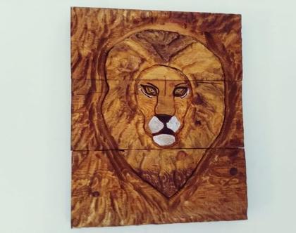 תמונה מגולפת מעץ מלא - אריה