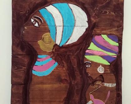 תמונה מגולפת בעבודת יד -אפריקאיות