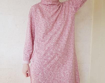 שמלה ורודה | שמלה בבד סריג | שמלת אוברסייז