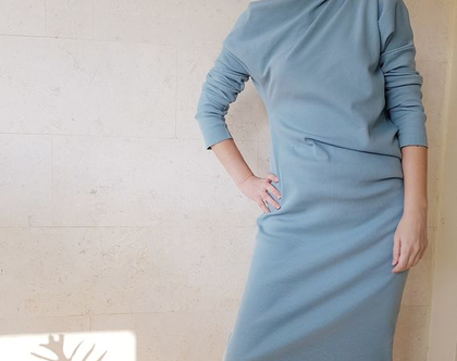 שמלת סריג   שמלה בגזרה יפנית   שמלה מיוחדת