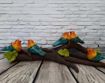 ענף ציפורים | ענף ציפורי שיר | ענף עם ציפורים | ציפורים מקרמיקה
