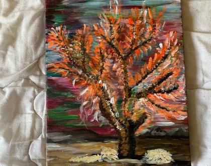 ציור בעבודת יד - כוחו של עץ
