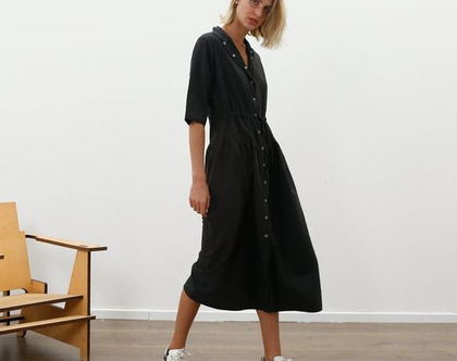 שמלת מקסי סנאפ שחורה