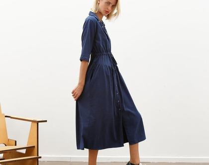 שמלת מקסי סנאפ NAVY