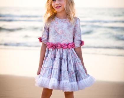 """שמלה מסתובבת לילדה מכותנה - """"וינטג'"""""""