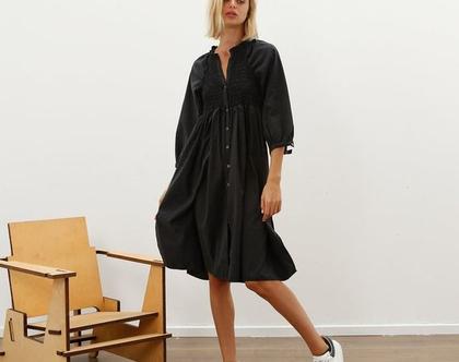 שמלת מידי רומנטית, שחורה, סתיו חורף 2020