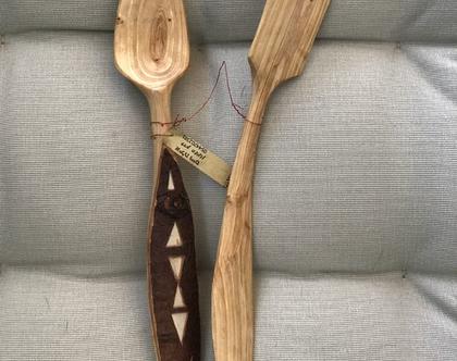 זוג כפות עץ מגולפות בעבודת יד / כפות לבישול