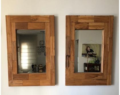 במבצע‼️ זוג מראות עץ מלא מקסימות מעץ גושני | המחיר מתייחס לשתי מראות