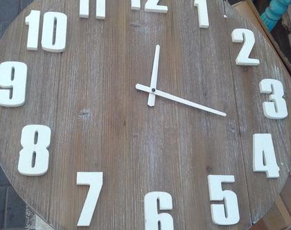 שעון קיר גדול בסגנון וינטג קוטר 60 סמ עץ