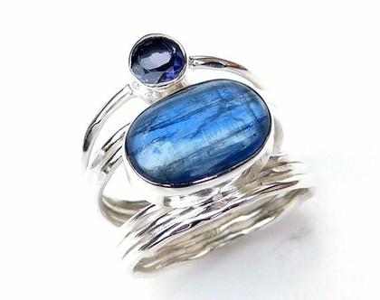 טבעת כסף עם אבן כחולה קיאנייט
