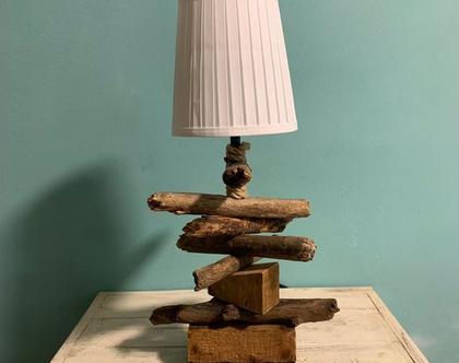 מנורת שולחן ייחודית מענפי עץ | מנורה מעץ עבודת יד | מנורת אהיל | מנורת שולחן | תאורת אווירה