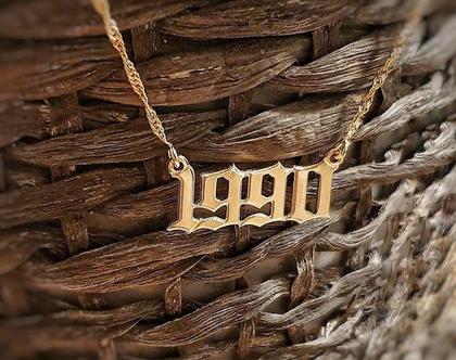 שרשרת שם - תאריך - שנת לידה - מתנה מיוחדת - ציפוי זהב - סגנון גותי
