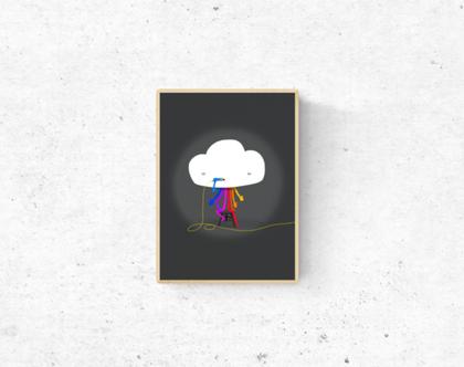 גלויה מאוירת - לעיצוב הבית - 'קשת בענן'