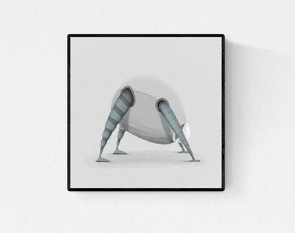 פוסטר מאויר - לעיצוב הבית - 'רובוט מביט לאחור' - בהיר