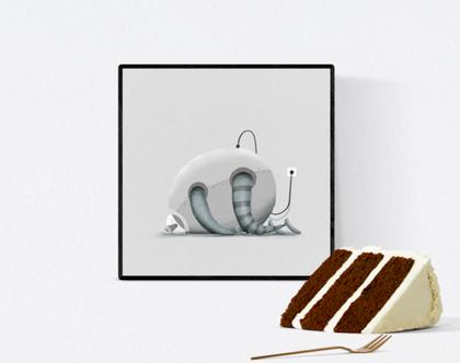 פוסטר מאויר - לעיצוב הבית - 'רובוט ישן' - בהיר