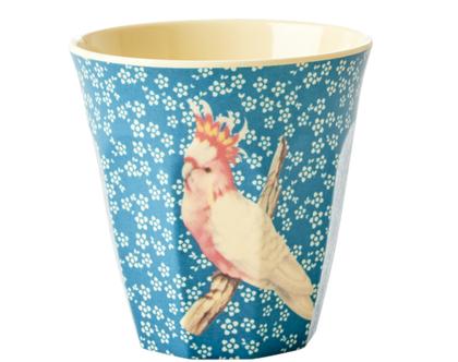 כוס מלמין טוטון תוכי רקע כחול | RICE DK
